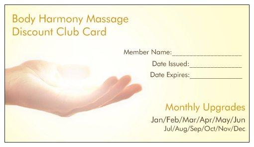 Body Harmony Massage annual membership discount card